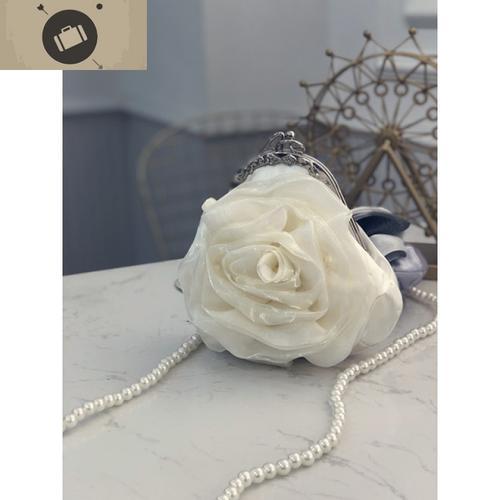 白玫瑰白纱立体花朵镶水钻手拿手提包女礼服ins珍珠网