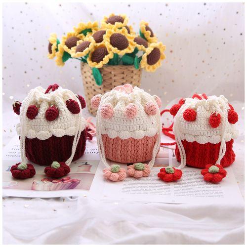 米妈手作酒红色草莓多纸杯蛋糕包diy材料包手工毛线包包5股牛奶棉