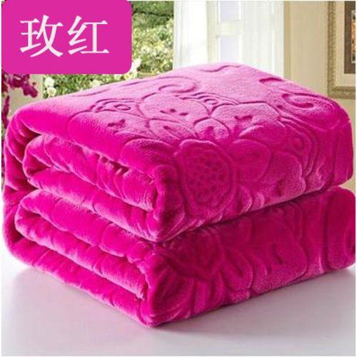 毛毯毛巾被羊羔绒婚庆休闲单人双人舍尔秋冬保暖珊瑚宿舍午休 玫红色