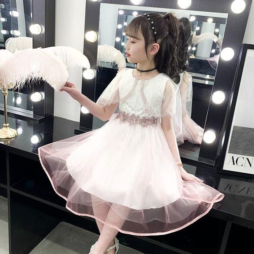 女童连衣裙2021夏季小女孩超仙蓬蓬纱裙洋气披肩蛋糕裙儿童公主裙