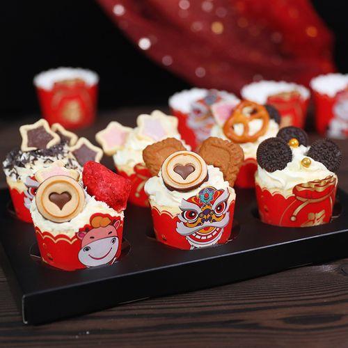 新年蛋糕纸杯牛年春节纸杯蛋糕马芬杯新年快乐醒狮福