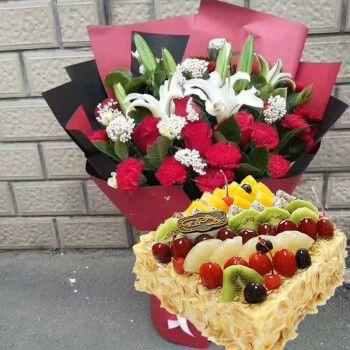 蛋糕鲜花玫瑰百合预定当日送达福建永安福安南平石狮福鼎漳州晋江厦门