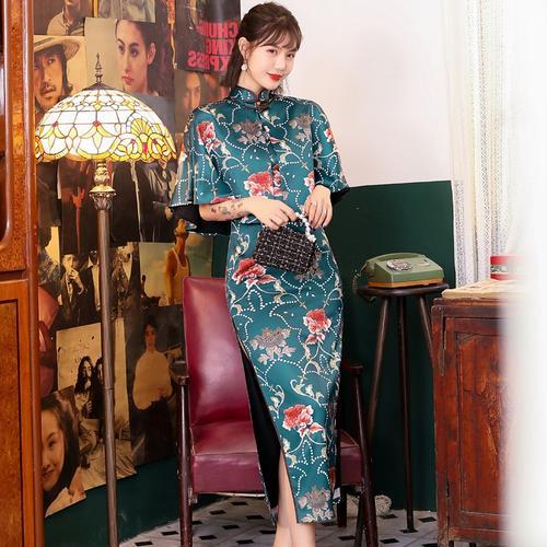 旗袍美探同款年轻款少女2020年新款中国风复古中袖