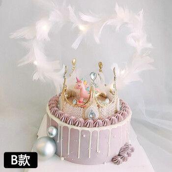 情侣女神网红女王天使送老婆送女友女生皇冠生日蛋糕同城配送沈阳