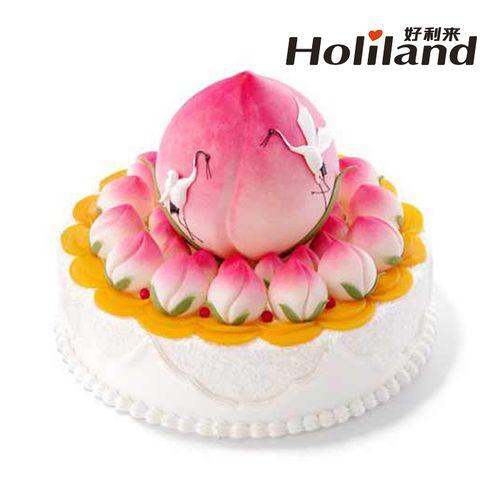 好利来祝寿蛋糕同城配送沈阳天津西安瑞鹤呈祥16寸14寸寿桃